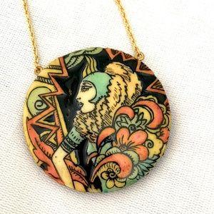 VINTAGE 70's Art Deco pendant with Mirror